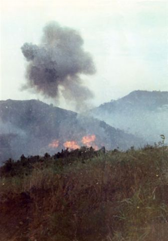Napalm strikes below the Tennis Courts