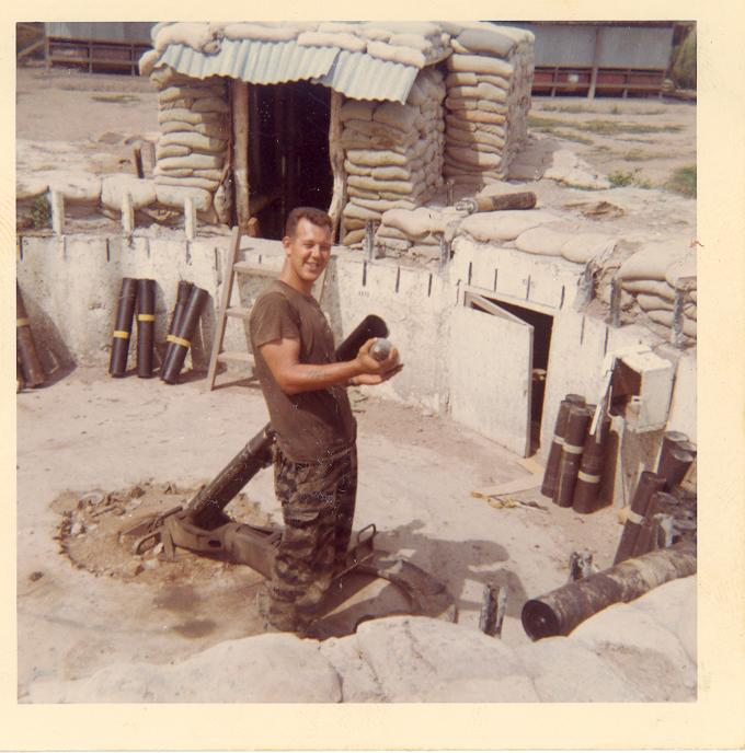 Sgt. Jim Weldon inside the 4.2 Mortar Bunker, camp A 433, Vietnam