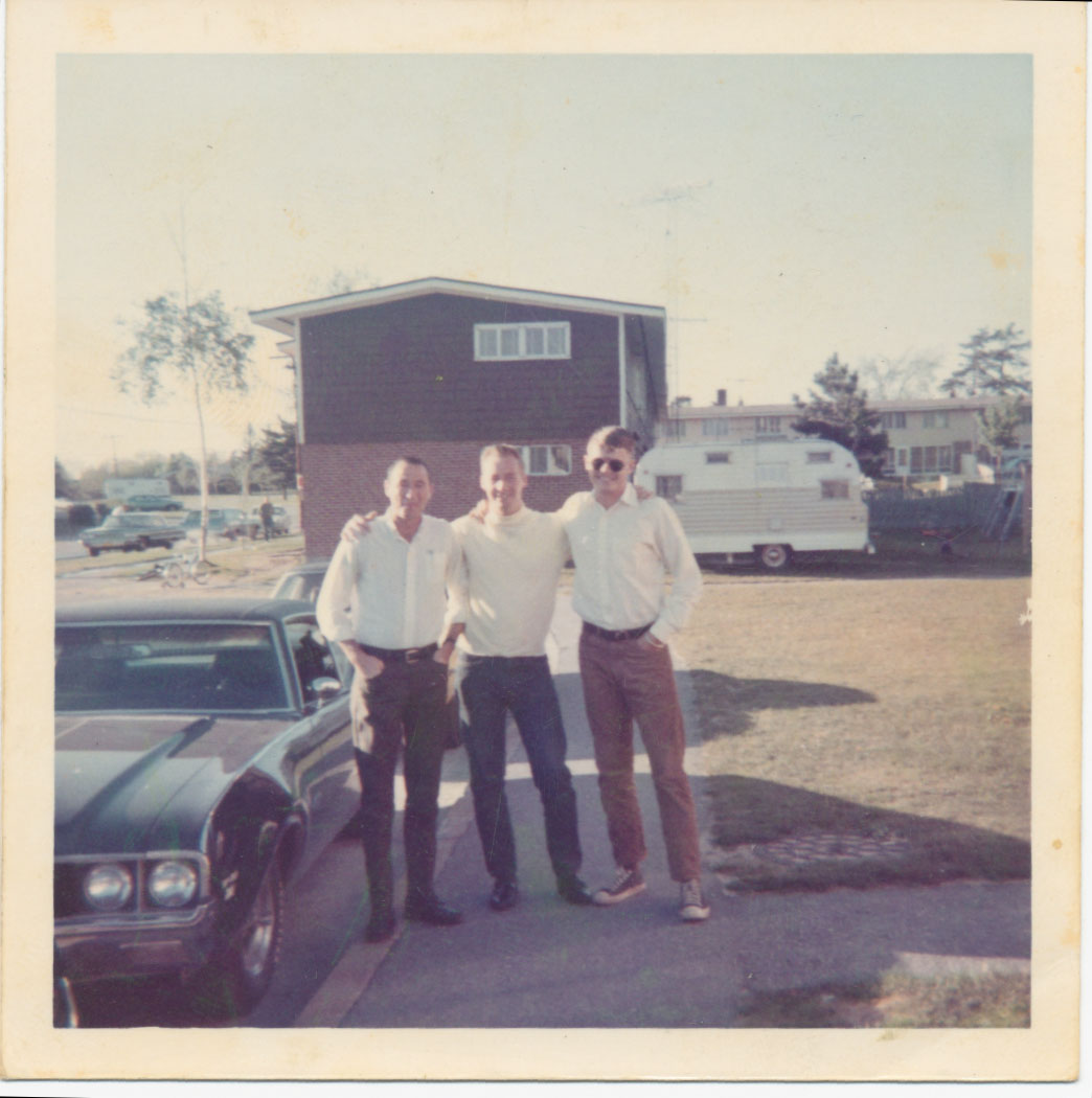 Three former RT Idaho One-Zeroes, from left: Robert J. Parks, Don Wolken, John S. Meyer at Ft. Devens, Mass June 1969, next to Meyer\'s 442 - W-30.