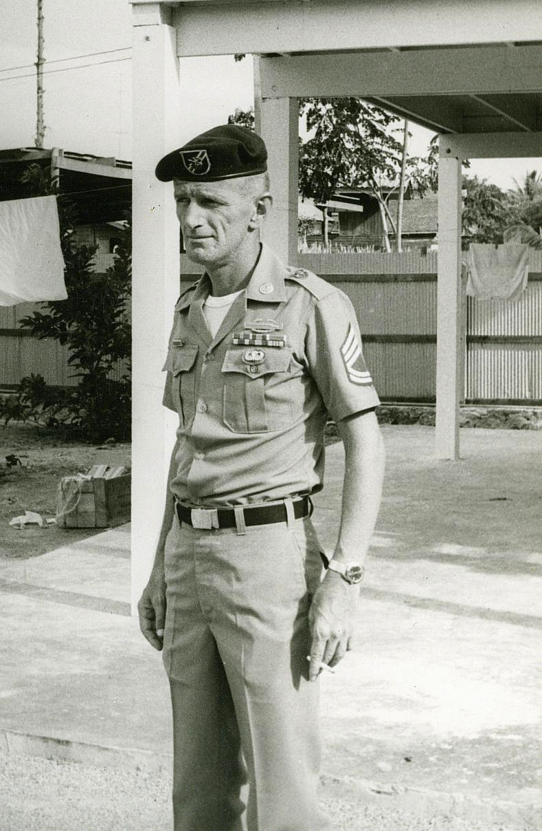 SFC Bernard F. \'Bugs\' Moran, A4610, 1st SFGA, Hua Hin, 1969. Bugs\' and I served on several A-Teams together.  11B & 11C