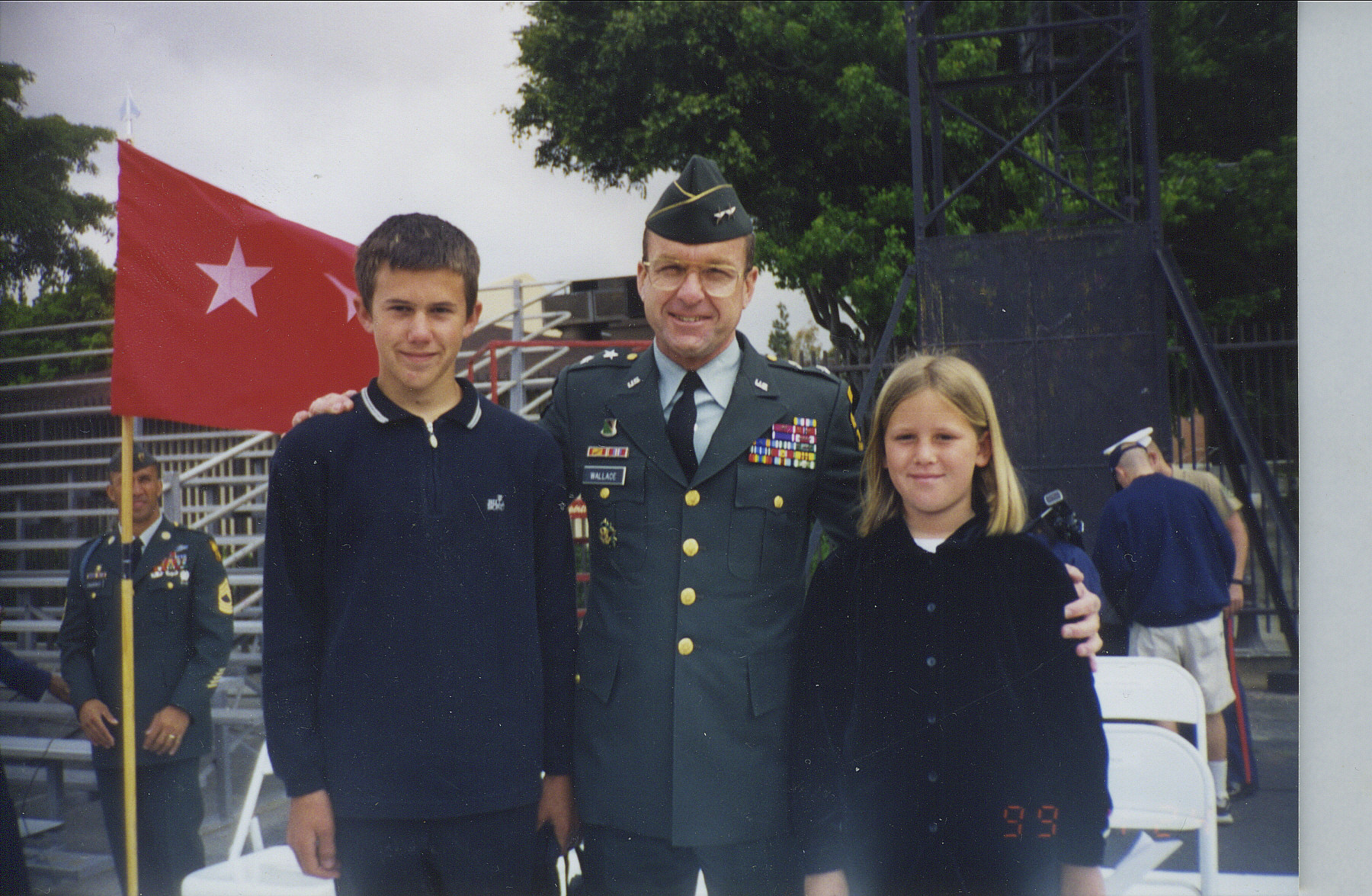 Jonathan J. Holmes, Major General Wallace, Kimberly E. Holmes, at USC Univ ROTC Cadet Graduation, 1999