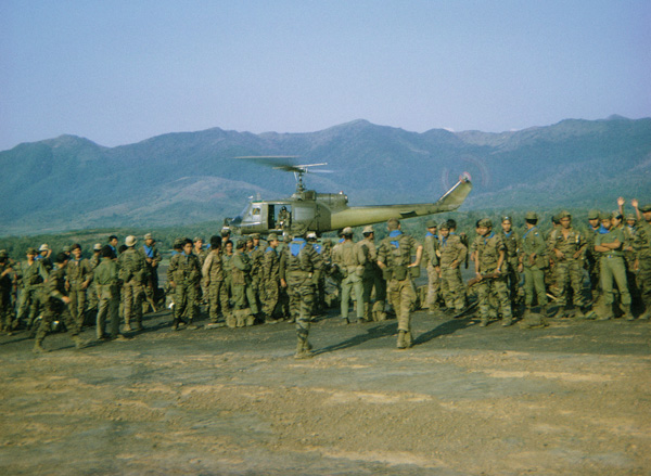 II Corps Mike Force Company Loading Choppers 1969, for Bon Son Insertion, SSG Holmes, platoon leader.