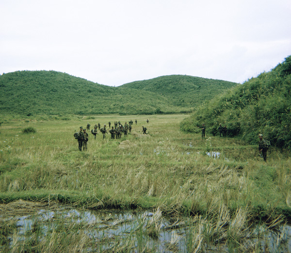Kontum Mike Force Company at Bonson 1969. We had heavy contact in these small hills.