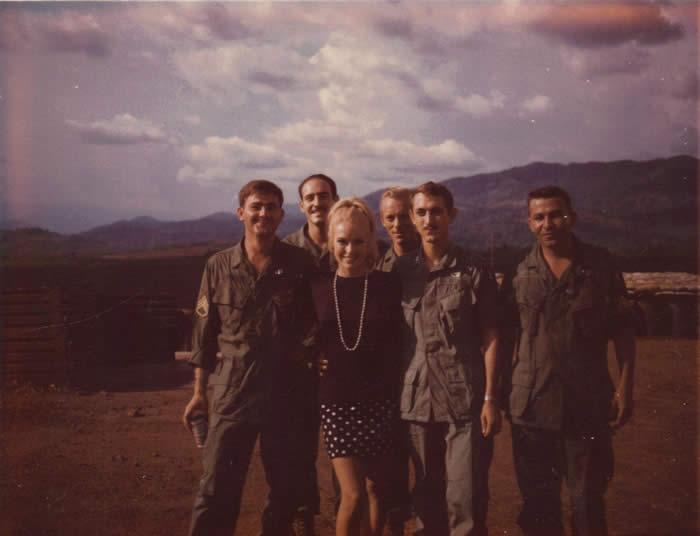 L-R, SSG Dennett, SGT Frank Gomilla, SSG Leverton, CPT Stanger, SFC Frank Gonzlaes Chris Noel A-251, Plei Djereng, early 1968.
