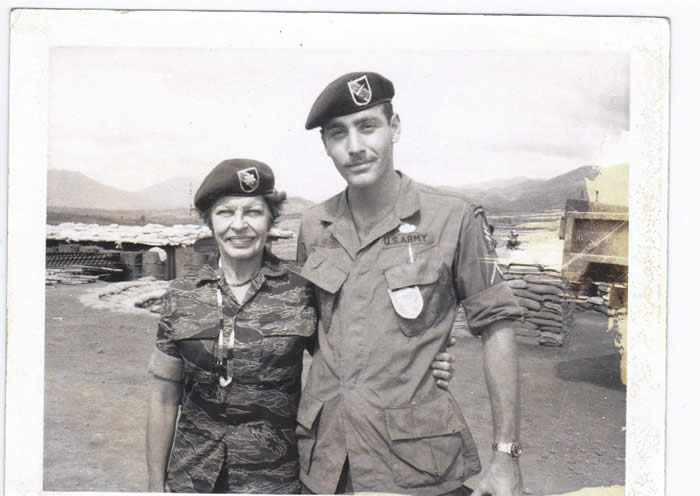 Maggie(Martha Rey) and SGT Frank Gomilla, A-251, Plei Djereng, early 1968