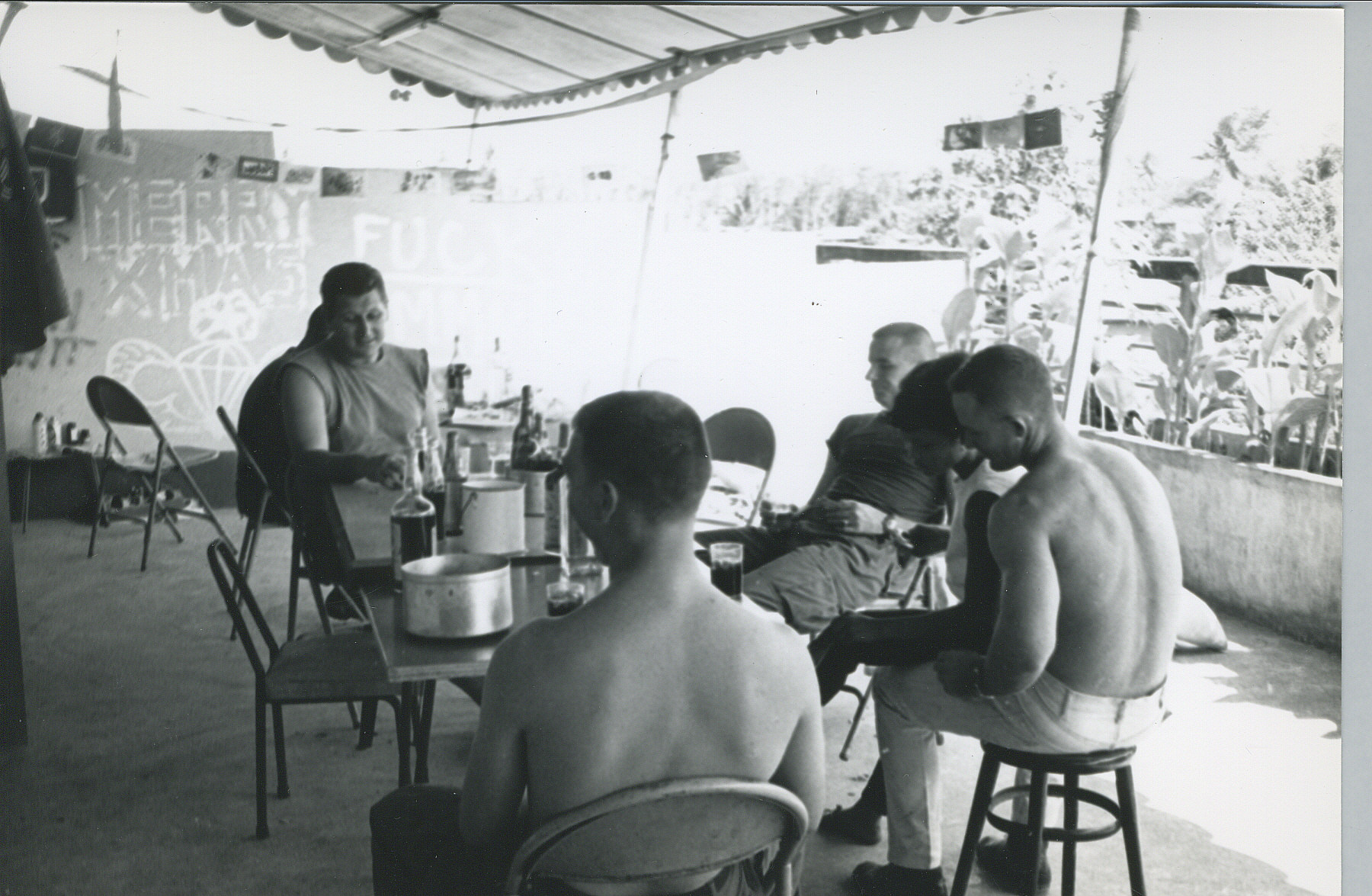 Dec 1966 - Hotel in Trang S Thailand - SFC Knuutilla, SGT Helms, SGT Lonny Homes, SFC J P Silk - Notice Our Graffiti A 432