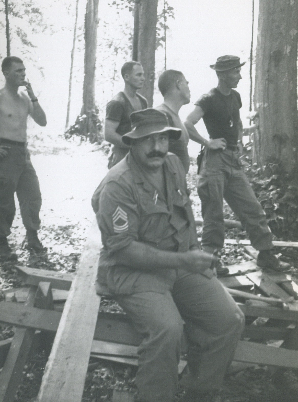 MSG Moose Brannon Back Row, SGT Helms, SGT Lonny Holmes, CPT Greenwood, SFC Forrest - K Formam Building Camp Carroll Trang South Thailand 1966 - A 432