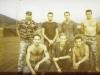 Special Forces Camp A-251, Plei Djereng, 1968, Back, SFC Frank Gonzlaves, SFC Frank Alexander, Capt Stange, SFC Fred Hamilton. Front, SGT Frank Gomillia, SGT Mike Helling, LT Lyle Slane