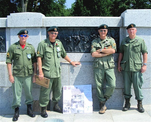 WWII War Memorial.  Parachute Bronze.  Lonny, Jack, and Gene Williams, Bob Shaffer.  Memorial Day 2011, Washington DC