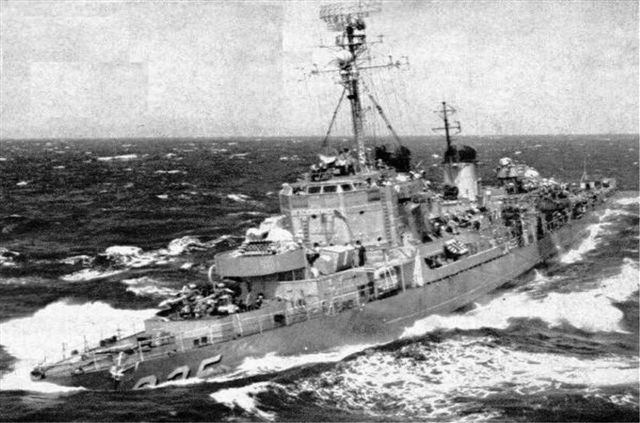 My Ship Uss Carpenter DDK 825 off the coast of Korea 1950