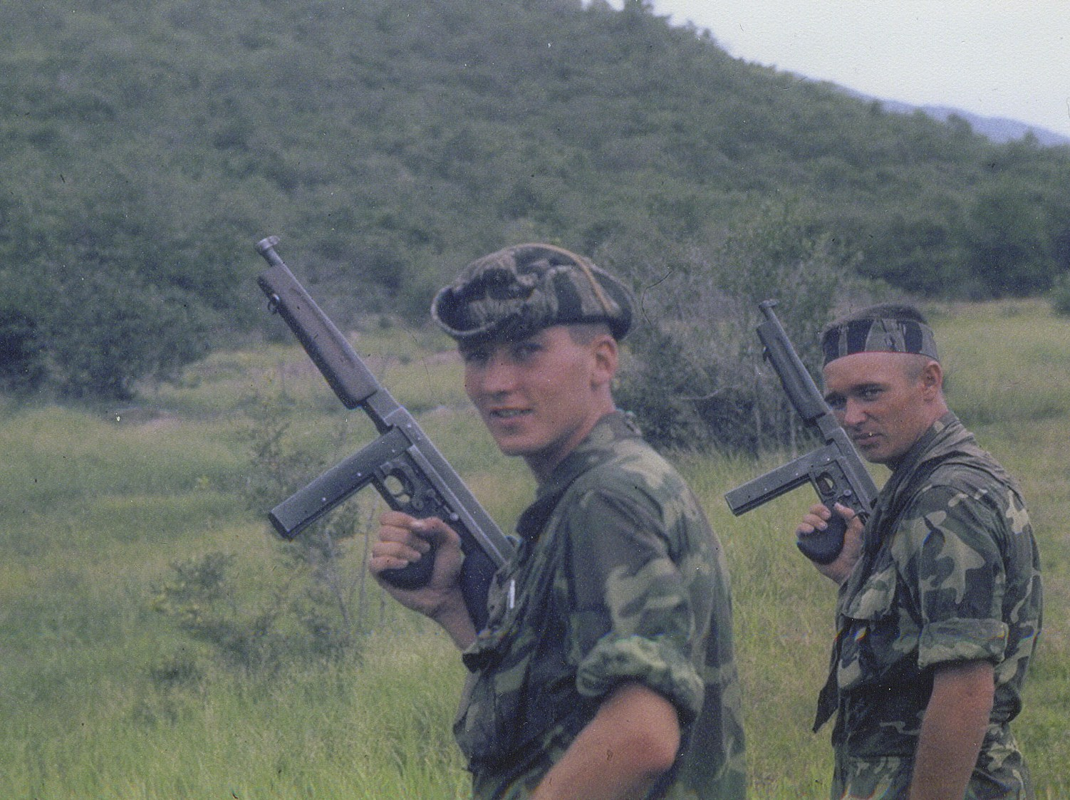 Thompson 45 cal sub machine gun firing at MACV Recondo School - 1967