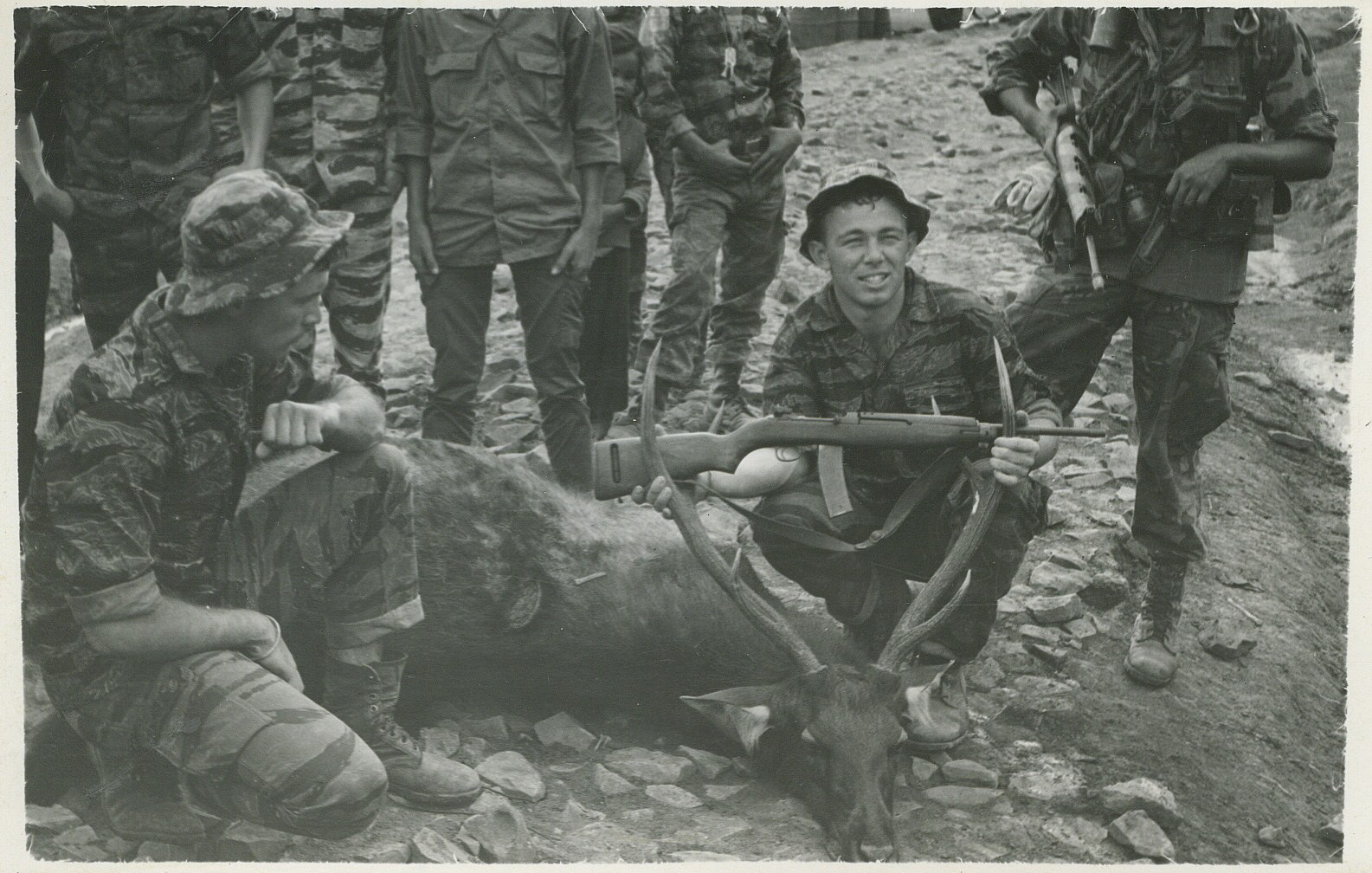 Plei do lim special forces A camp central highlands, Dec 1967.  Sgt Mark Miller on left, Sgt Patrick L Henshaw in center