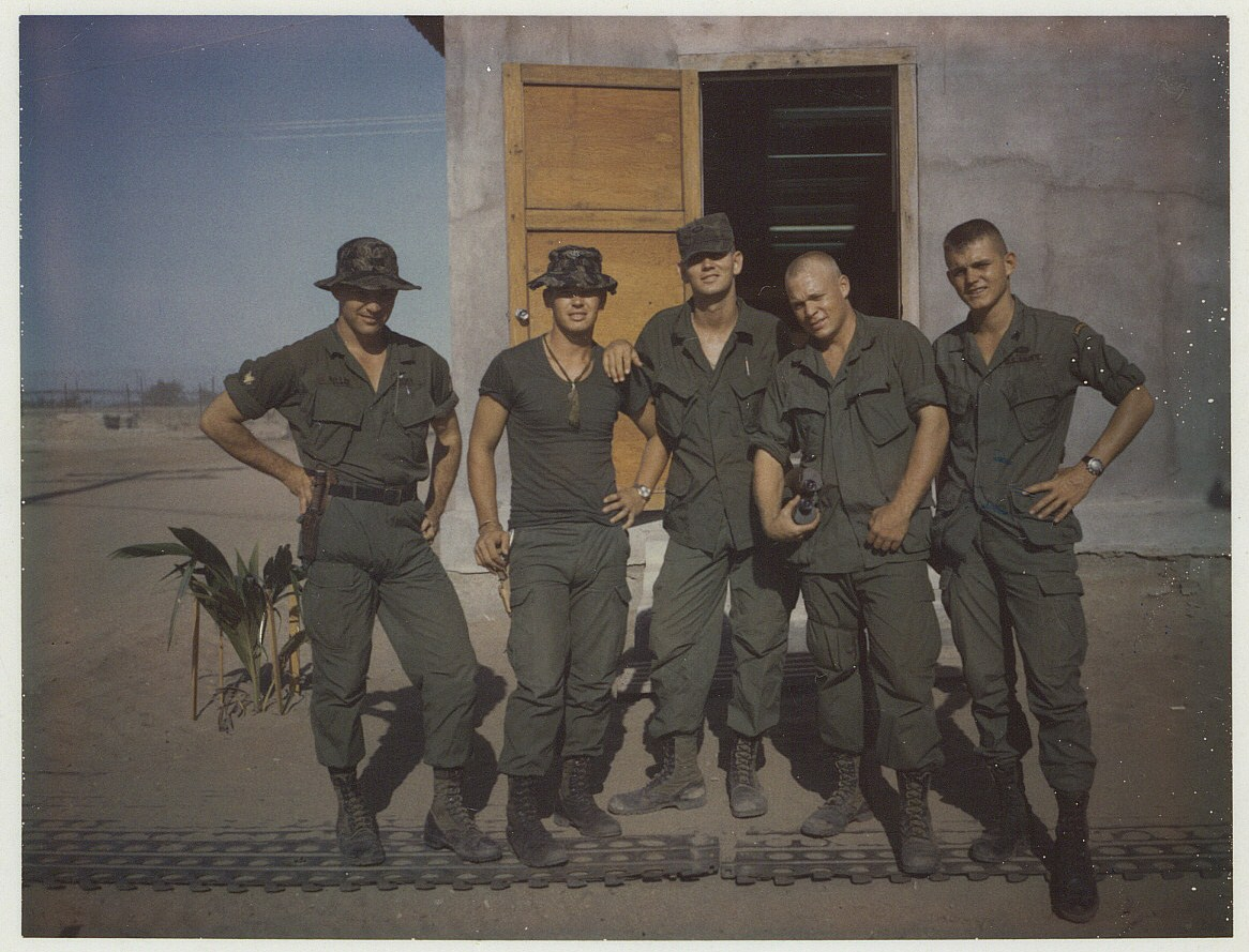 Left to Right - Mark Miller, Calvin Rollins, Walter Peavy, Steve Northington, Brian Yost - MACV Recondo school Nha Trang RVN - 1967
