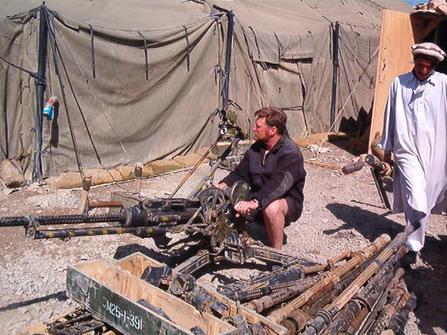 I am mounted on a ZPU 14.5 mm Anti Aircraft gun me and an eager 82nd Airborne trooper assembled from parts from multiple cache recoveries. We got it to fire a few times at the range, but it kept going down. When shooting sideways instead of in the air, the 1,000 lb gun would scoot back 6 inches on every burst.