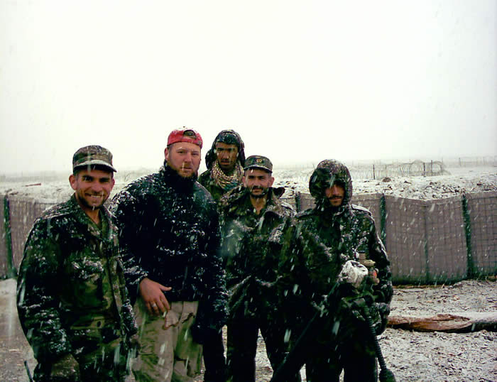 Training mortar crew in the snow Preping them for the raid on the commo sight.
