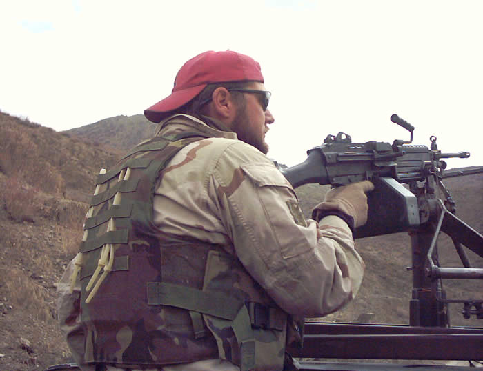 Manning the gun while on Patrol, Paktia Province, Afghanistan