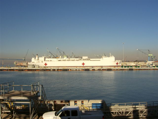 A hospital ship moored near-by