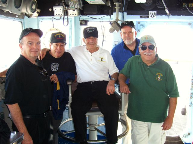 Brad Welker, Ramon Rodriguez, Richard Simonian, Jim Duffy and Terry Cagnolatti on the bridge