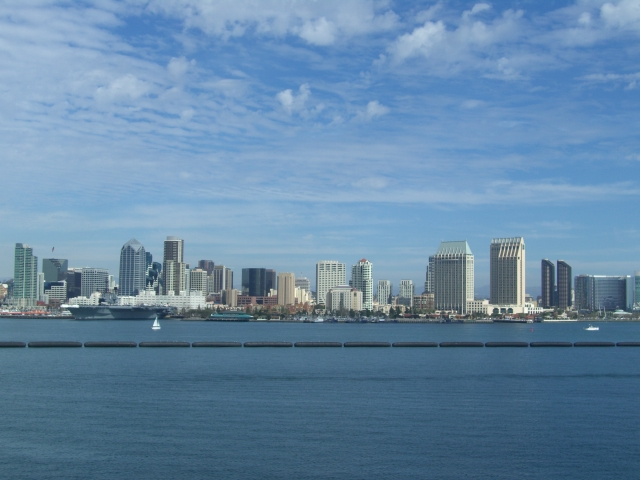 Shore line, San Diego, CA, from the flight deck of the USS Ronald Regan
