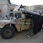 Grips setting up the cameras for filming, 2 external, 1 inside. The Humvee was filmed in action from both sides.