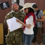 Velvet A. Smith director, discussing with James A. Walsh, (CPT Joe Morello, ODA Team Leader).