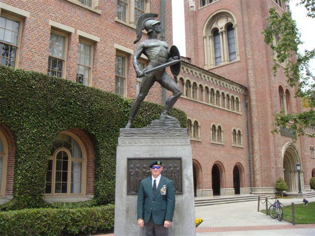 """Lonny Holmes under """"Tommy Trojan"""" Universty of Southern California."""