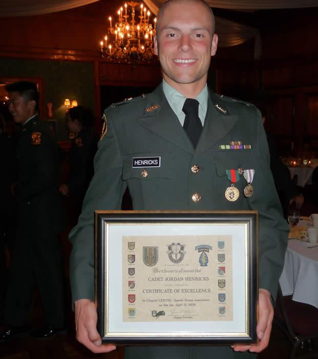 University of California at Los Angeles, ROTC Cadet Jordan Hendricks. Professor of Military Science LTC David Kramer Commanding