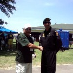 Terry Cagnolatti shakes hands with MSG... who was the Team Sergeant of the Golden Knight Demonstration Team at the SF Picnic.