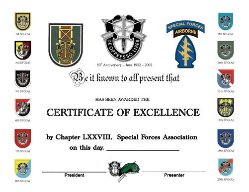 A copy of the award certificate presented to the appointed ROTC Cadet.