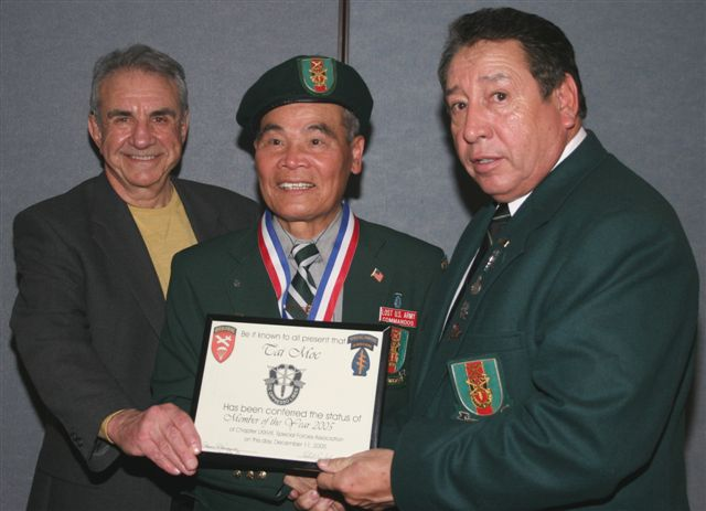 Lost Commando Member of the year, Tuong V. Lau Presenting are Chapter President, Ramon Rodriguez and Former Secretary, Robert Foley.