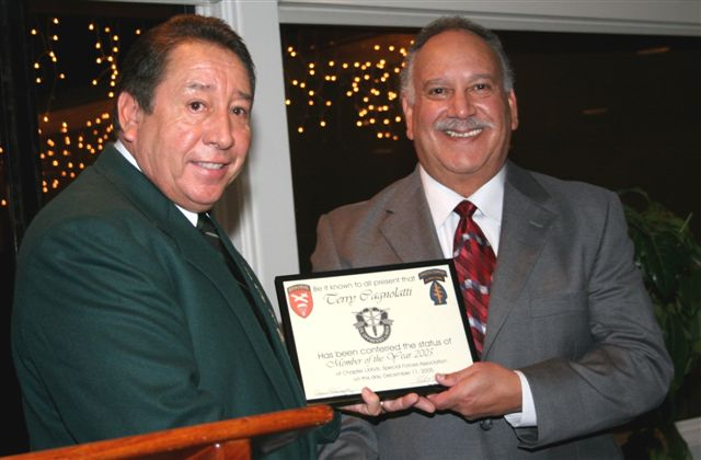 SF member of the year, Terry Cagnolatti.  Chapter President Ramon Rodriguez, presenting.