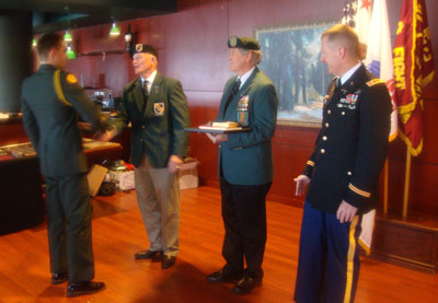 Cadet John Graff, Lonny Holmes, Jack Lawson, Professor of Military Science LTC Robert Kirkland