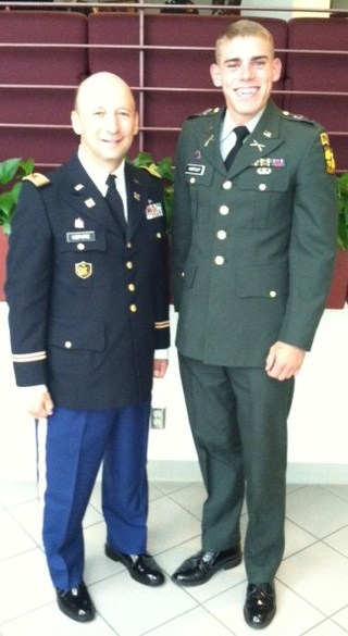 Professor of Military Science LTC Jonathan Nepute, MS4 Zachary Hartley, was awarded the very first Special Forces Certificate for Special Achievement.